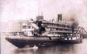 Whaleback Passenger boat with damage to forward cabins