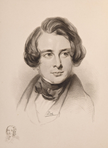 Pencil sketch of young man with hair over his ears, head and shoulders, Charles Dickens