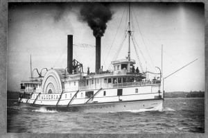 Great Lakes steamboat Algerian with large plume of black smoke