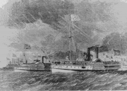 A sketch of two Great Lakes steamboats from the 1860s
