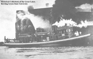 Clevelander fire tug fighting a dock fire
