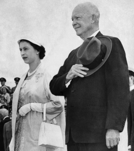 President Eisenhower with hat over his heart and Queen Elizabeth II at the opening of the st. lawrence seaway
