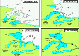 Four images showing the receding glaciers 14000 - 3000 years ago